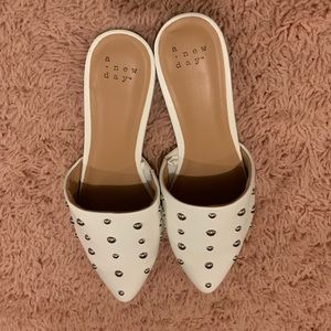 White Studded Mules